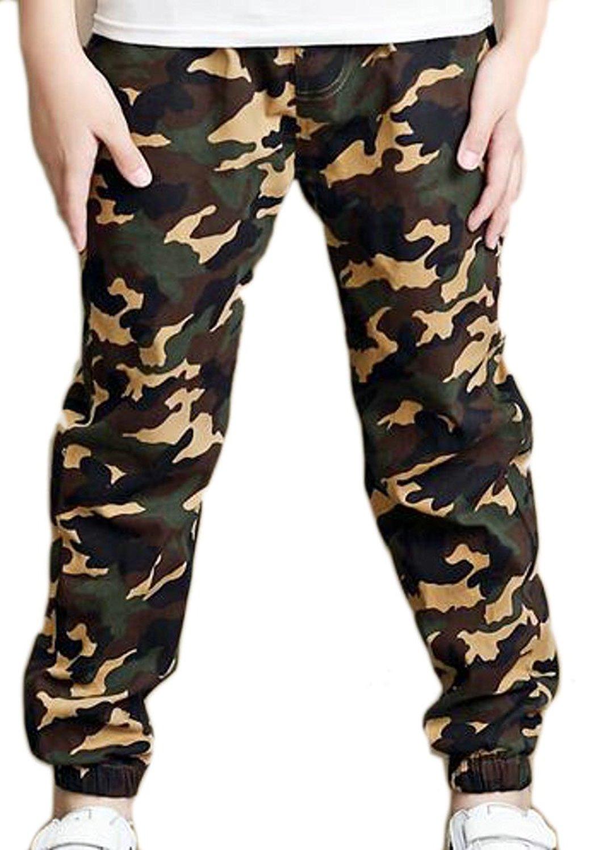 Pandapang Mens Camouflage Jogger Pocket Elastic Waist Casual Pant