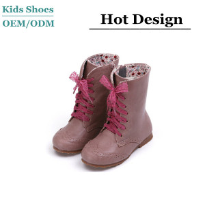 Hot sale fashion women classy cow leather kids boots online kids garden boots