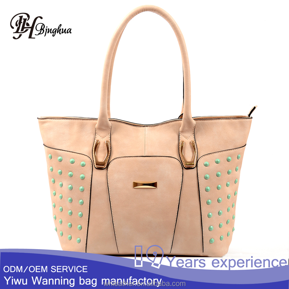 Pink girl's studs tote bag middle east fancy handbag reusable hand bags 2017 china factory
