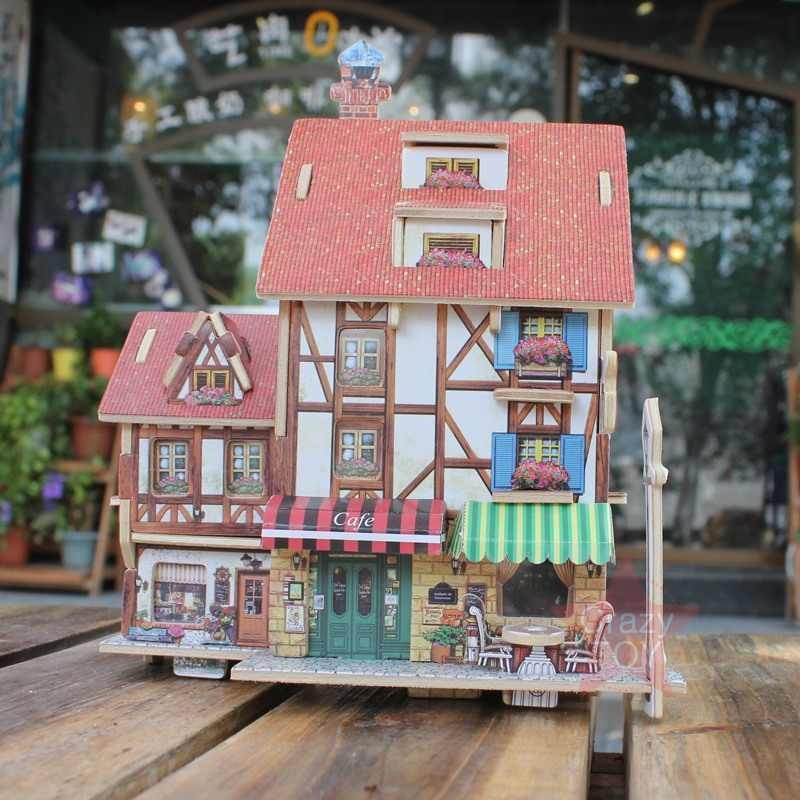Model Building Kits Wooden 3d Hand Diy Stereo Jigsaw Puzzle Puzzle Board Children Puzzle Toy House Assembled Model Wood Diy Manual Hotels