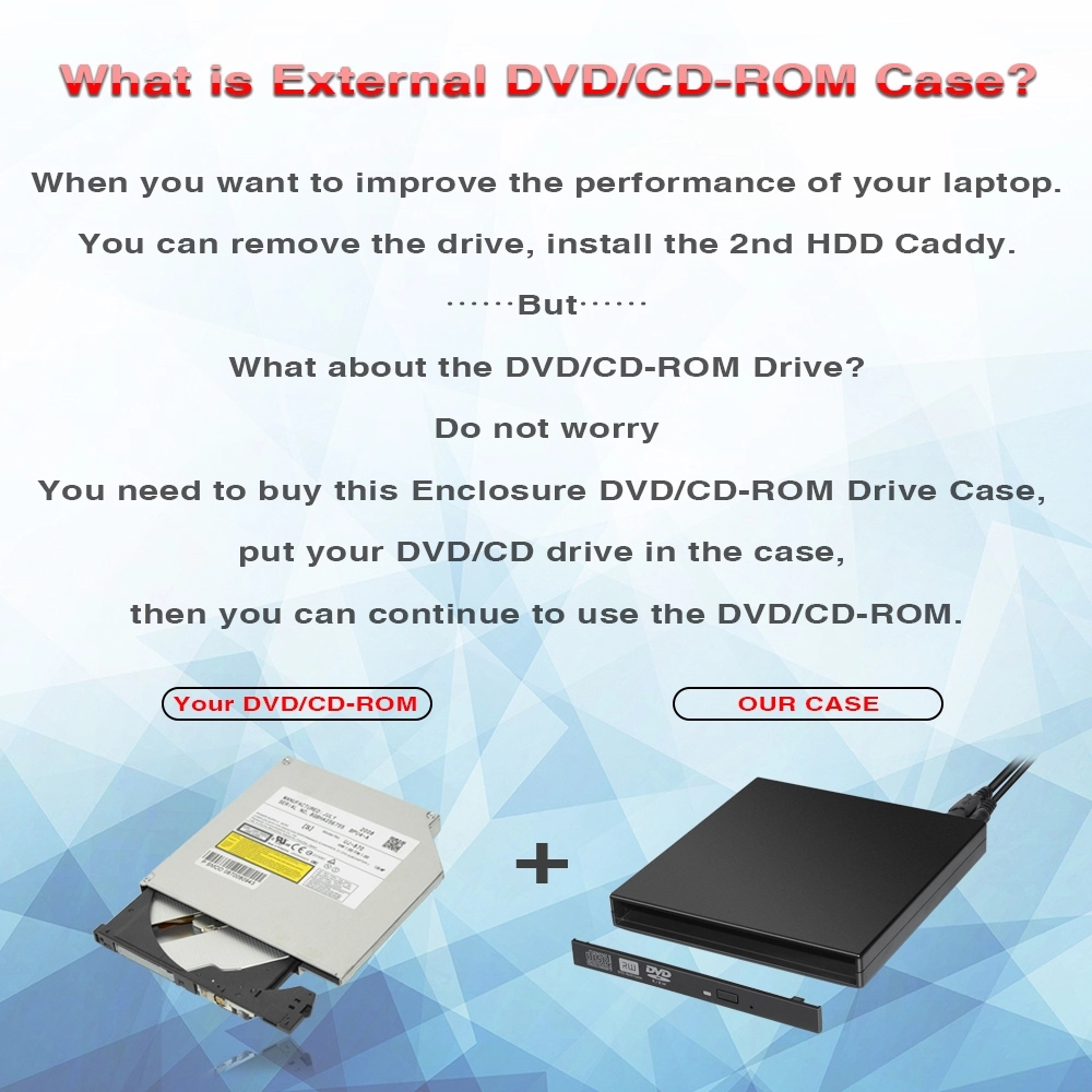 USB 2.0 12.7mm sata Portable Optical Drive Case Kit External Mobile Enclosure DVD/CD-ROM Case For Laptop
