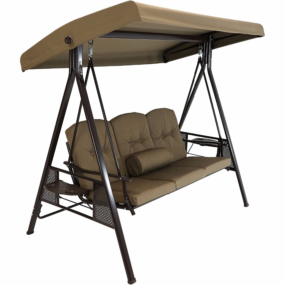 Outdoor 3-Person Steel Frame Canopy Patio Swing with Side Tables and Cushions