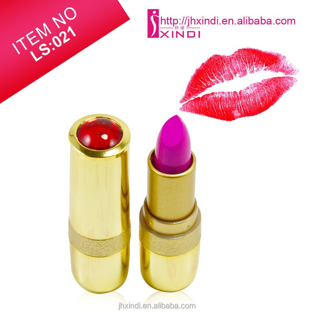 Golden tube with diamond and charming color lasting long matte finish lipstick