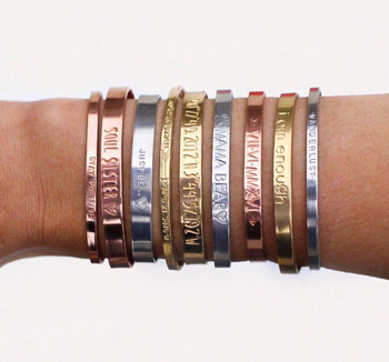 f2074120092 Personalized Mantra Band Cuff Bracelet Engraved Quotes Stacking Bangle  Customized Cuff Hand Stamped Bracelet Cuffs