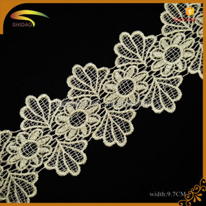 custom wholesale clothes accessories gold metallic french lace trimming SD-SN189