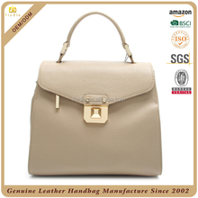 2017 New design beige color ladies handbag genuine leather with bling metal lock