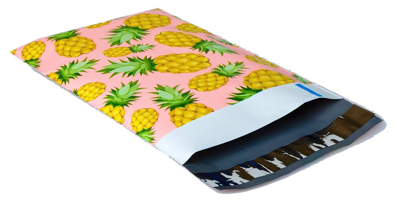 Poly Mailers Pineapple Designer Poly Mailers Custom Bags Pink & Yellow Shipping Envelopes Plastic Bags #SmileMail 6x9