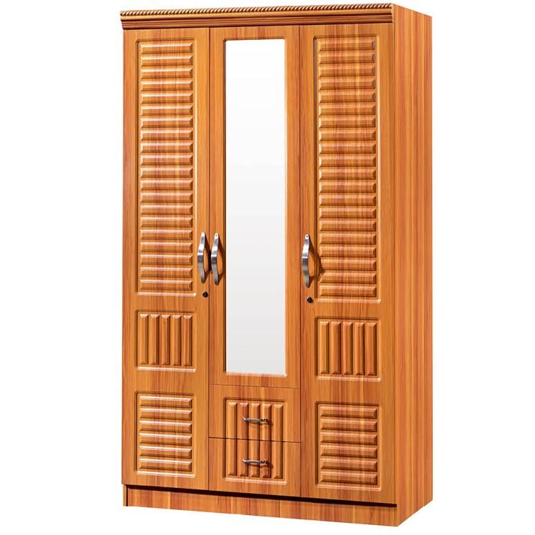 Simple 3 Door Pvc Coated Plywood Wooden Wardrobe Design
