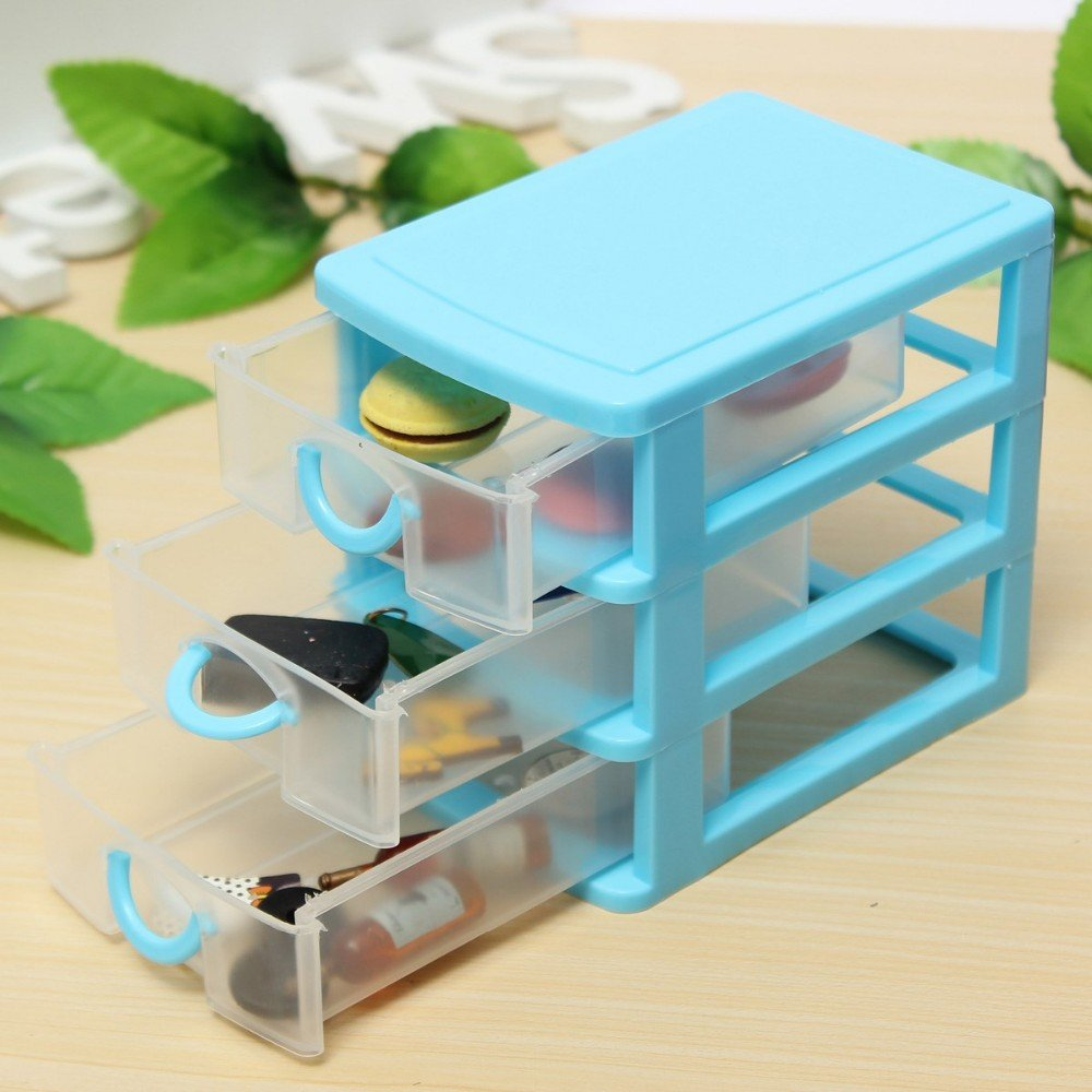 plastic storage box colored Desktop Plastic Storage Box with Three Drawers Jewelry Organizer Holder Cabinets Fit For Office Home plastic storage box drawers (Blue)