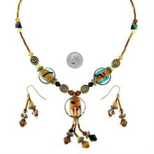lampwork glass with seed beads chain necklace match cheap earring jewely set