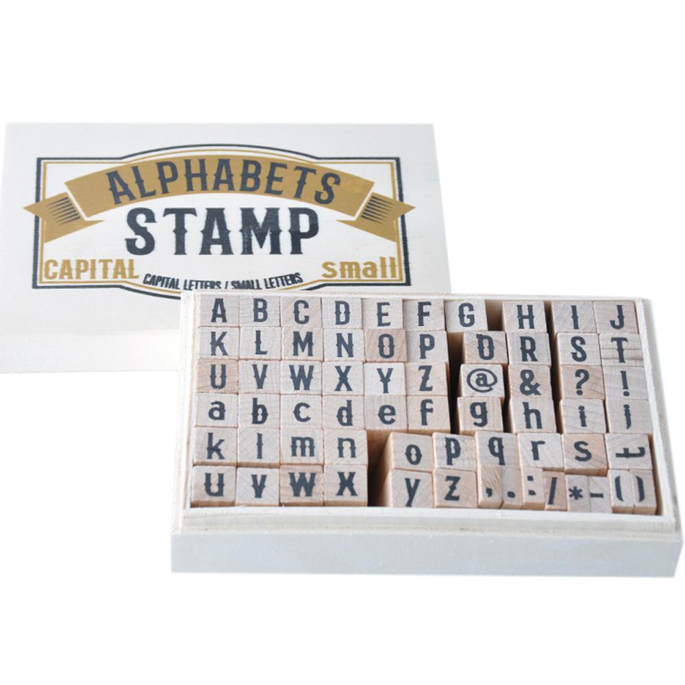 Nouveau 32 Pc Lettre en Bois Timbres Ensemble Alphabet Symboles /& Tampon Encreur