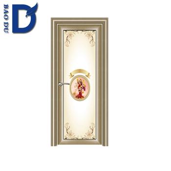 Waterproof Aluminum Frame Bathroom Door Sliding Entry Glass Door
