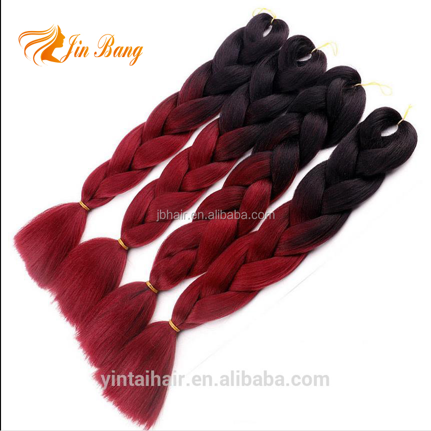 Beautiful synthetic ombre braiding hair jumbo box braids for making small twist braiding hair extensions