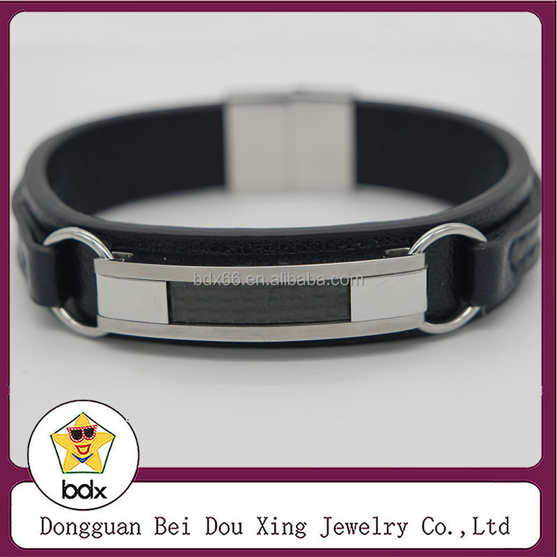 Black Genuine Leather Bracelet Men Bangle With Stainless Steel Men Jewelry Rock Chunky Leather Men's Bracelets