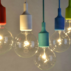 Cheap personalized design colorful E27 silicone material holder pendant lamp