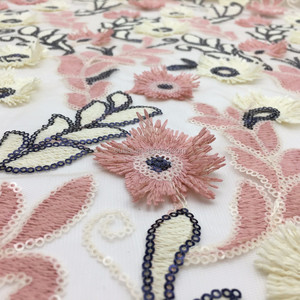 2017 3d flower lace mesh embroidered fabric