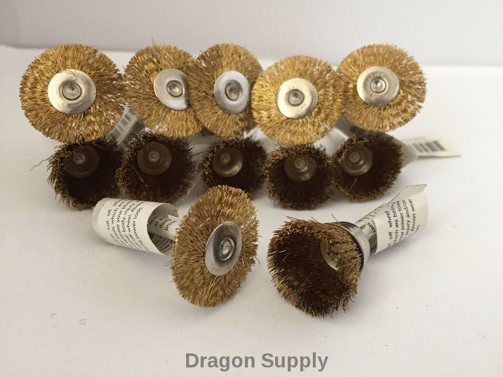 """simply silver - 12pc Combo Set 7/8""""Brass Wire Wheel + 3/4"""" Cup Brushes Dremel Die"""