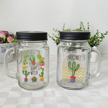 8oz 12oz 16oz custom logo printed mason jar drinking glass with handle wholesale mugs