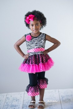 Hot Pink Zebra Rosette Ruffled Top and Pants with Hot Pink Bow Headband