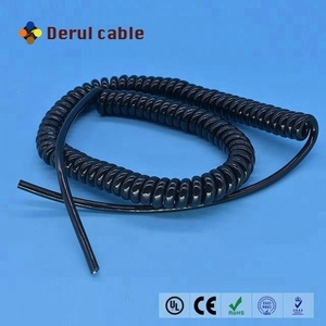 VDE Standard Black 4x0.2mm2 Spring Power Cable spiral coiled cord Spiral Cable