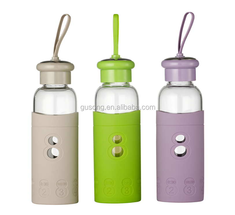BorosilIcate glass water bottle cover silicone