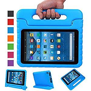 Sztook Shock Proof Kiddie Series Light Weight Convertible Handle Stand Case for Amazon Fire 7 Tablet 5th Generation - Blue