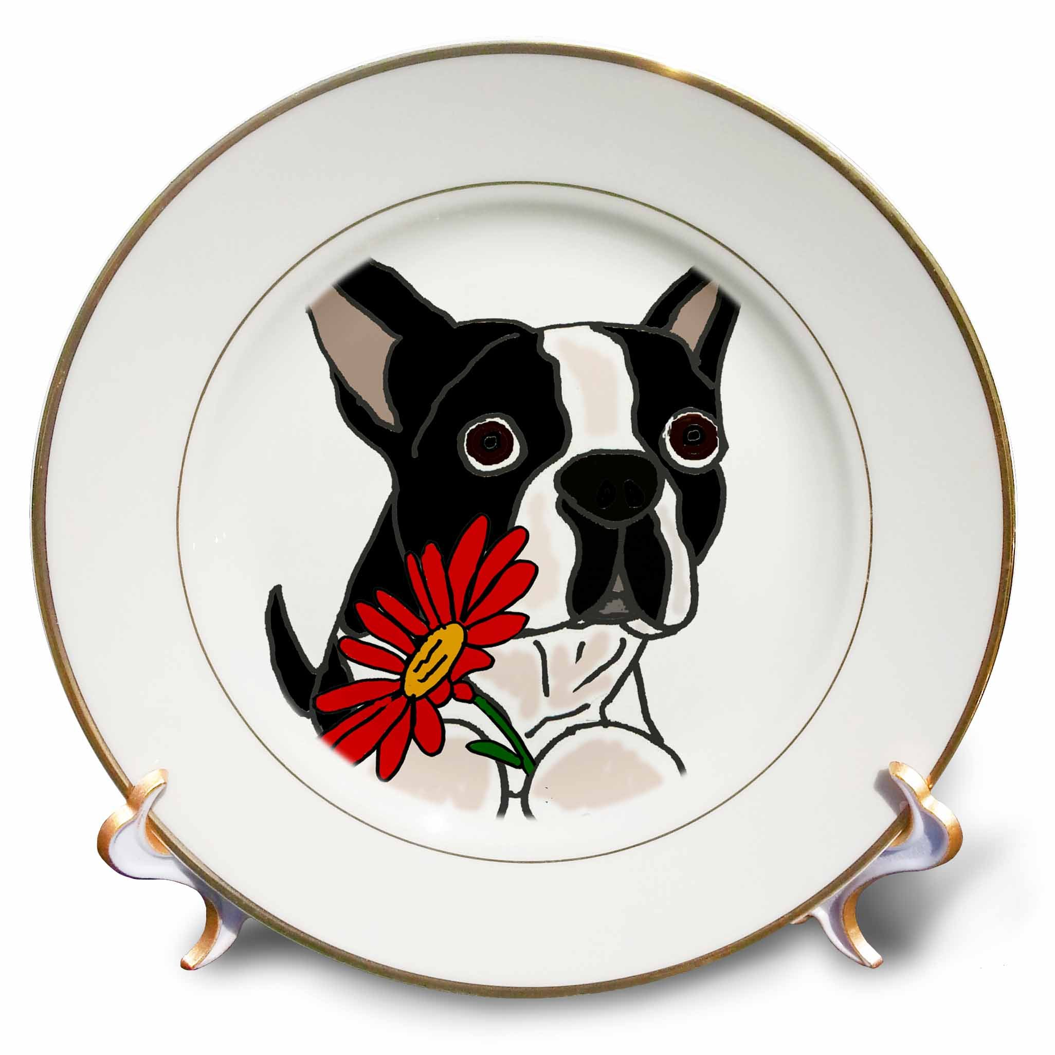 3dRose Funny Cute Boston Terrier Puppy Dog with Red Daisy Flower Plate, 8""