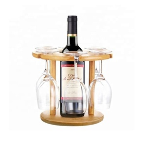 Display Organizer Stand Bamboo Wine Rack With Glass Bottle Holder