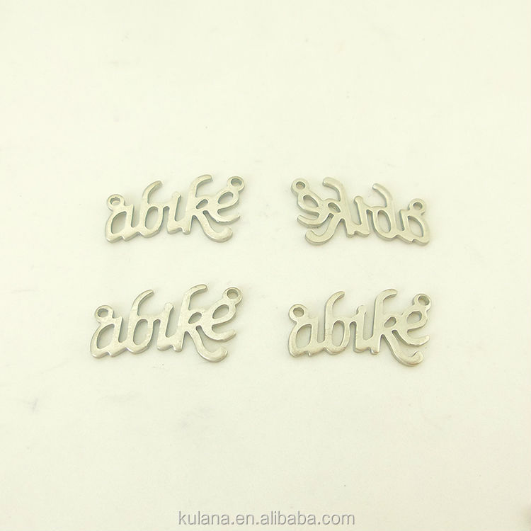 Wholesale Stainless Steel ABIKE Letter Pendent Findings for Bracelet/Necklace Jewelry Findings