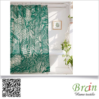 2016 Designer home decor high quality 100% cotton leaves printing shower curtain
