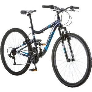 "27.5"" Mongoose R4054WMC Ledge 2.1 Men's Bike for a Path, Trail & Mountains,Navy, Aluminum Full Suspension Frame, Twist Shifters Through 21 Speeds"