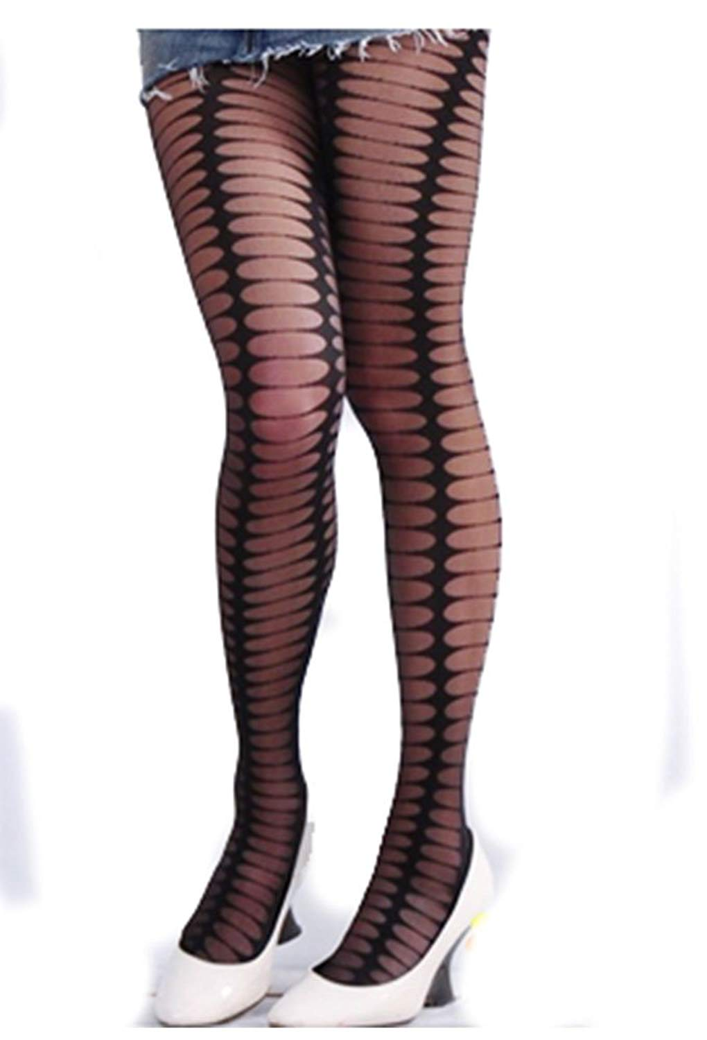 94fb695c54e Get Quotations · Sexy Black Gothic Pattern Sheer Tights Stockings XS ~ M
