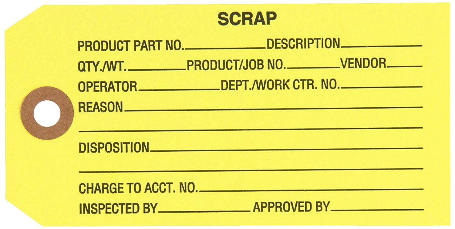 """Aviditi G20051 Inspection Tag, Legend SCRAP, 13 Point Cardstock, 4-3/4"""" Height x 2-3/8"""" Width, Black on Yellow (Case of 1000)"""