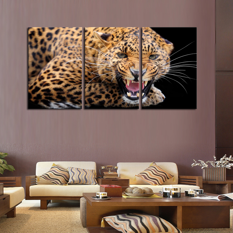 Cheap Art Decor: Unframed 3 Sets Ferocious Leopard Canvas Painting Art