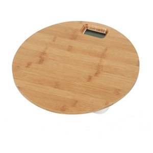 Round bamboo digital body weight scale electronic wooden bathroom scale PT-1015D