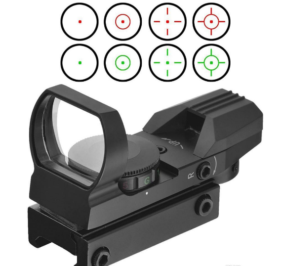 HD101 Holographic 4 Reticle Red/Green Dot Tactical Sight Scope with Mount for hunting 1x22 11MM 20MM