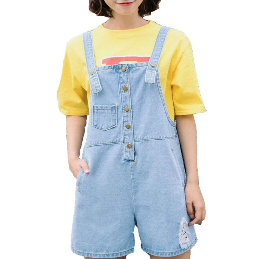 0652b4065d79 Get Quotations · Colygamala Girl s Cute Wash Jumper Romper Denim Overall  Shorts-Summe Shorts Jeans White Black