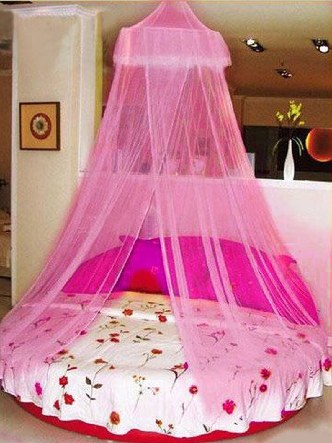 COOLOUT Soft Dome Princess Bed Nets Mosquito Net for Bed (Pink) Baby ,Summer , European Style Home Anti Malaria Bed Net Toddler Bed Crib Canopy Netting Dome Nets Elegant Round Lace Curtain Dome Bed Canopy Netting Mosquito Net