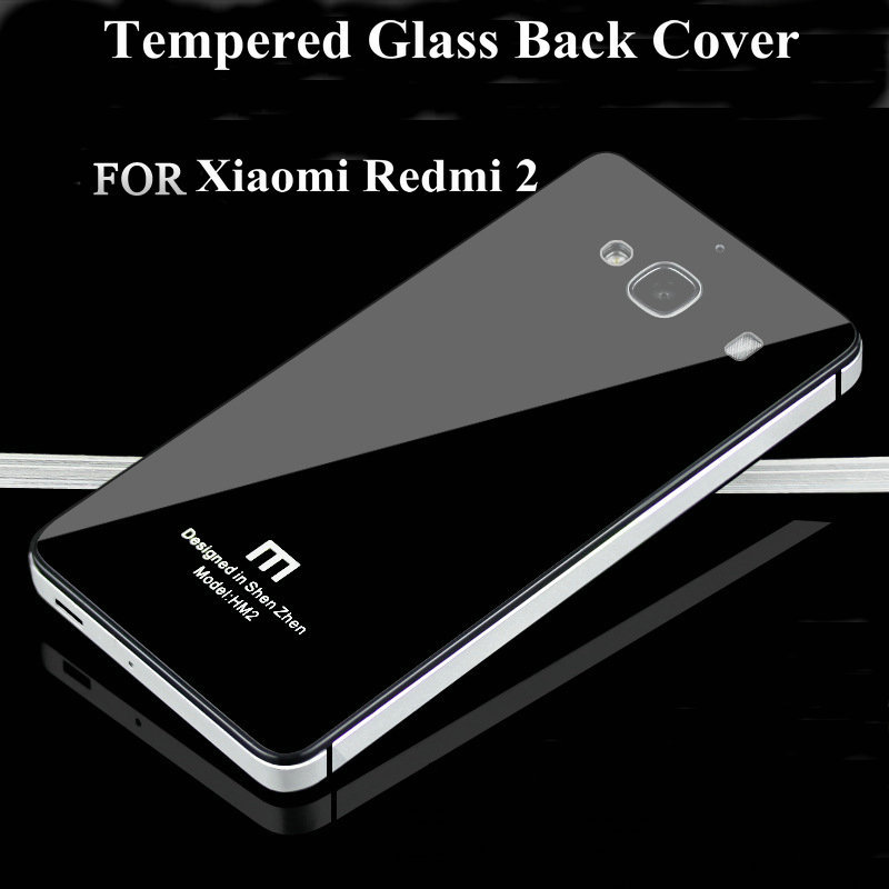 low priced 5410c 4de13 Xiaomi Redmi 2 case,Tempered Glass back cover case Ultrathin Metal  Toughened glass back cover phone case for Xiaomi Redmi 2