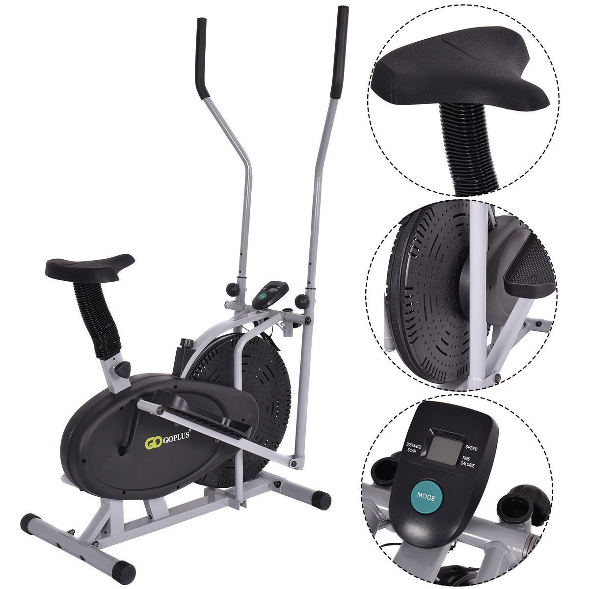 6758ab9d9eb6 Get Quotations · Gymax 2 IN 1 Elliptical Fan Trainer Exercise Bike Indoor  Home Cycling Fan Bike Exercise Machine
