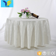 White hotel restaurant linen spun polyester jacquard 120 round tablecloth for wedding
