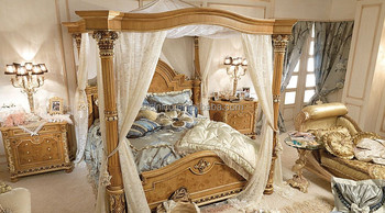 Bisini French Empire Inlay Solid Wood Bedroom Four Poster Canopy Bed Moq 1 Set Buy French Inlay Bedroom Set French Empire Canopy Bed French Four