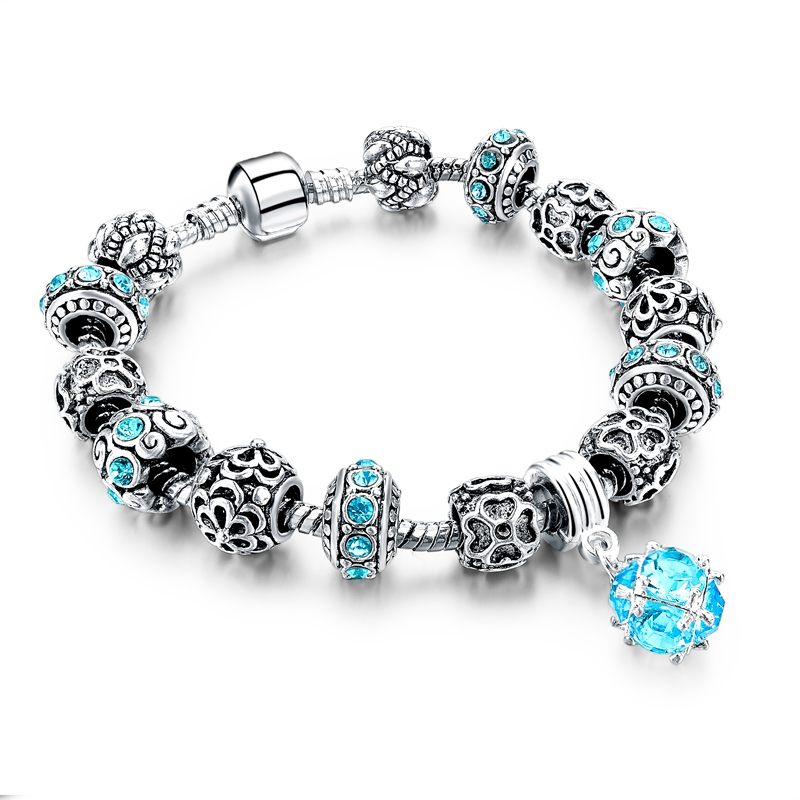 2016 DIY Charms Beads Bracelet Silver Crystal Friendship ...