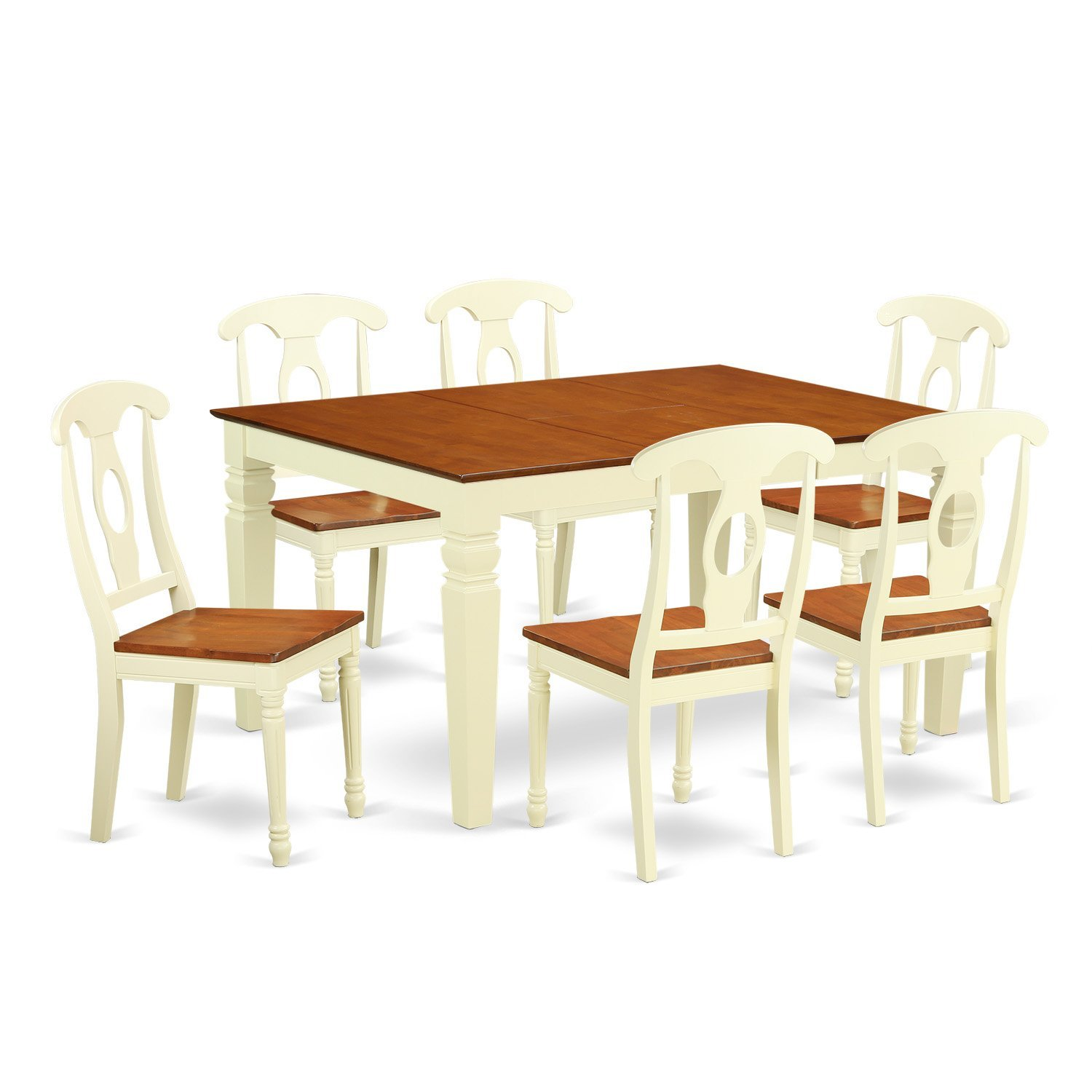 East West Furniture Weston WEKE7-BMK-W 7 Pc Kitchen Set with a Dinning Table and 6 Wood Dining Chairs, Buttermilk and Cherry
