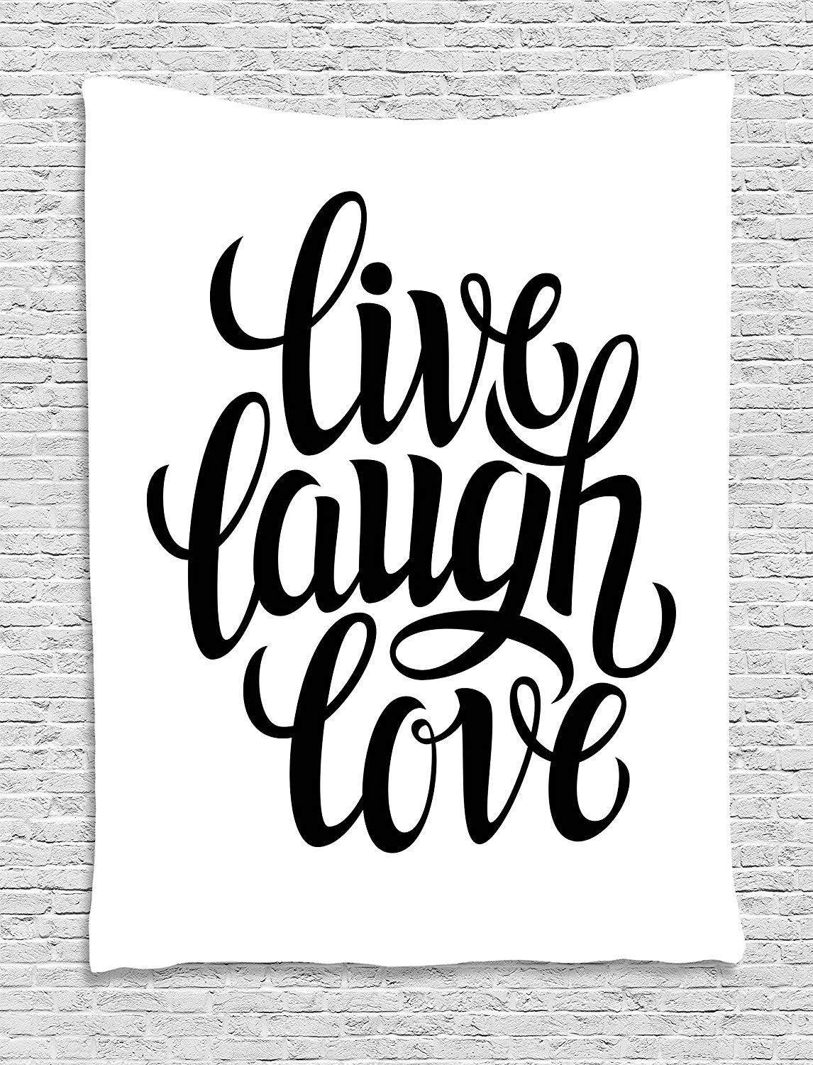 XHFITCLtd Live Laugh Love Decor Tapestry, Simplistic Inspiration Quote Minimalist Featured Typography Design, Wall Hanging for Bedroom Living Room Dorm, 60 W X 80 L Inches, Black White
