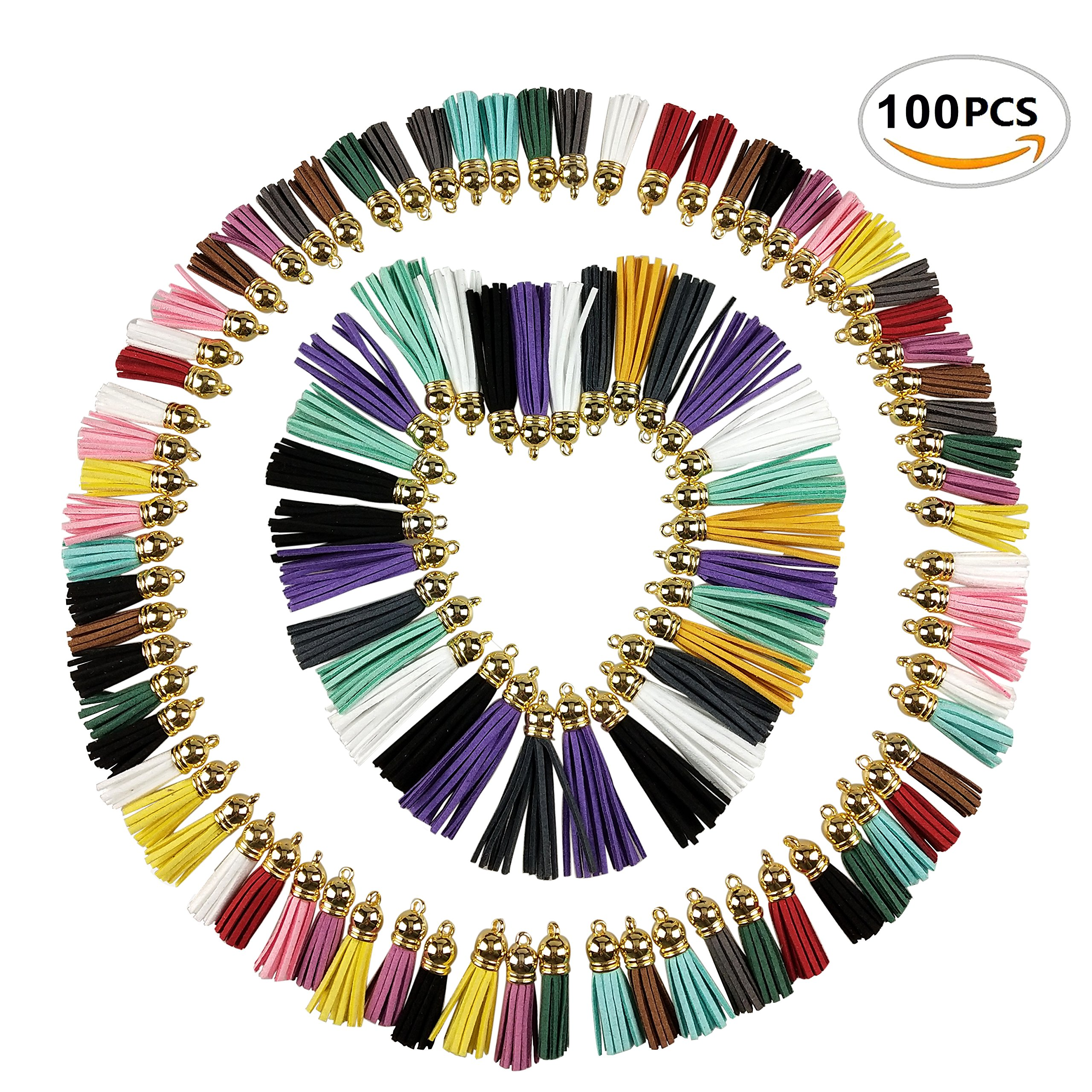 100PCS Multi-Colors Faux Suede Leather Tassel Craft Pendants with Gold Caps for Cellphone Straps, Jewelry Making, DIY Charms, Key Chain Accessory by CSPRING