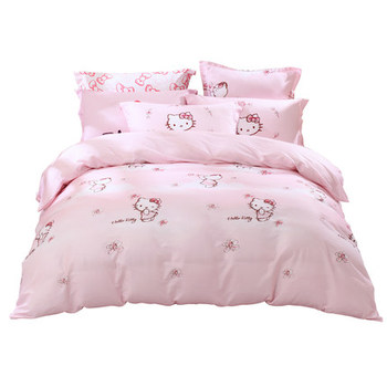 100% Cotton Twill Fabric Print Hello Kitty Bed Set baby bedding set