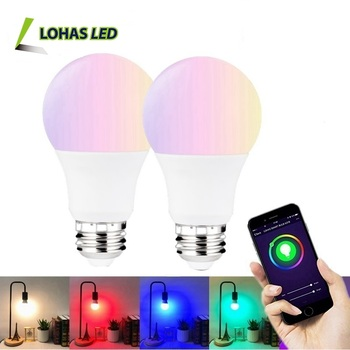 5W A19 Tuya APP Remote Control Light Lamp RGB+W RGB+WW Multicolor changing WIFI Smart Light Bulb