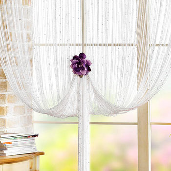 Fabulous White String Curtains With Beads Curtain