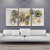 Yellow Black Grey Circle Modern Artwork Antique Astract Painting by Hand